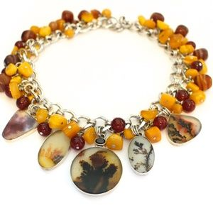 Dendritic Agate and Amber Statement Necklace